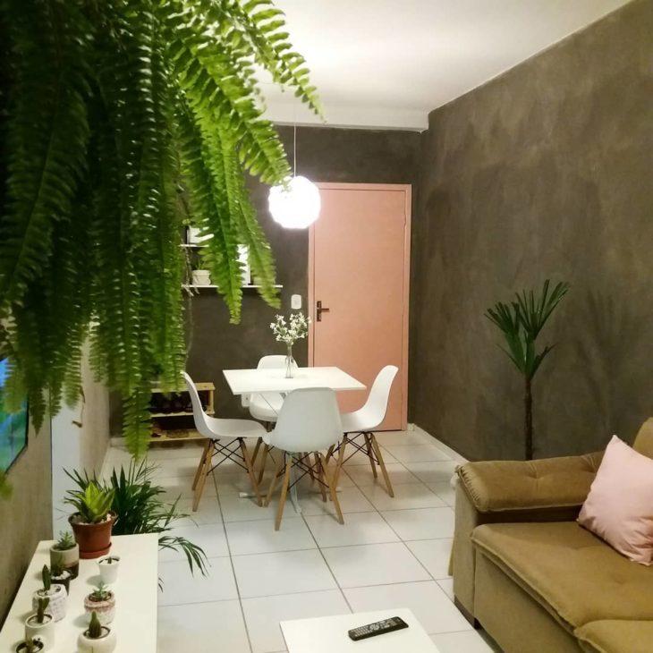 Sala pequena moderna decorada com planta.s