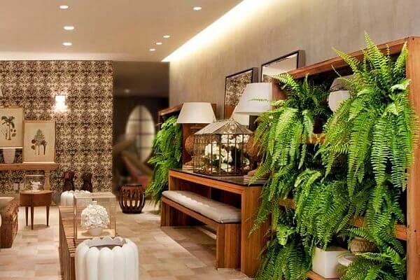 Sala moderna e elegante decorada com samambaias.