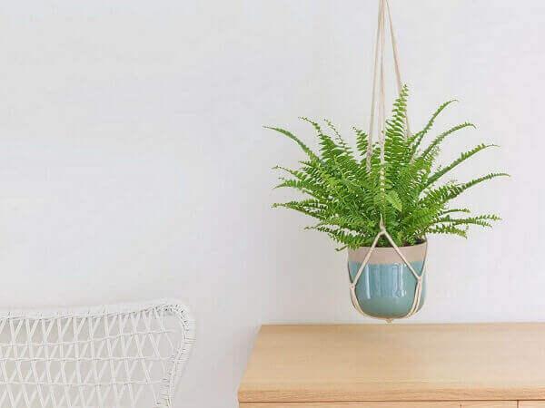 Vaso decorado suspenso com corda.