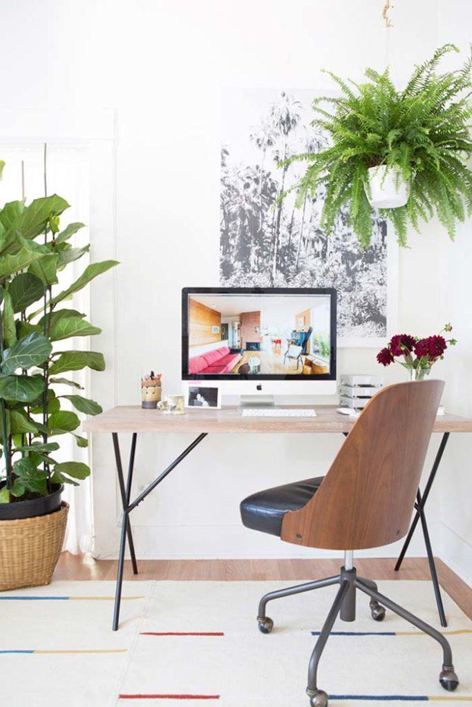 Escrivaninha decorada com plantas.