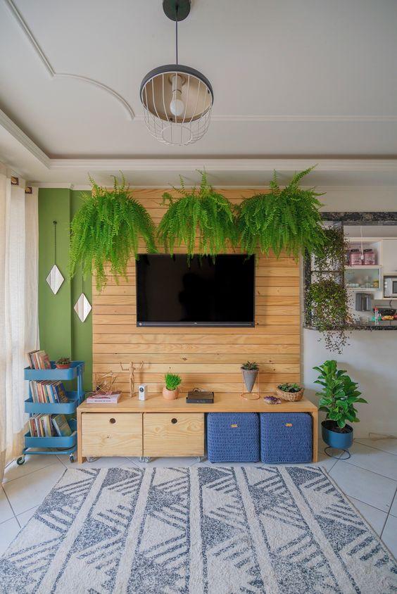 Sala pequena decorada com painel de madeira e samambaias suspensas.