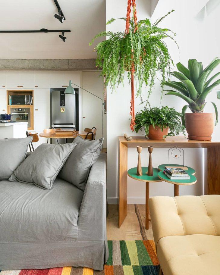 Sala moderna decorada com plantas.