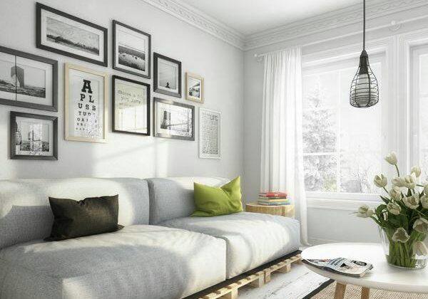 Sala de estar com decoração tumblr cinza.