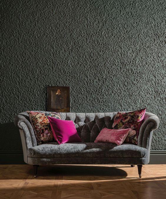paredes com textura em relevo cinza chumbo