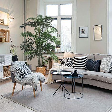 Sala com decoração moderna cinza.