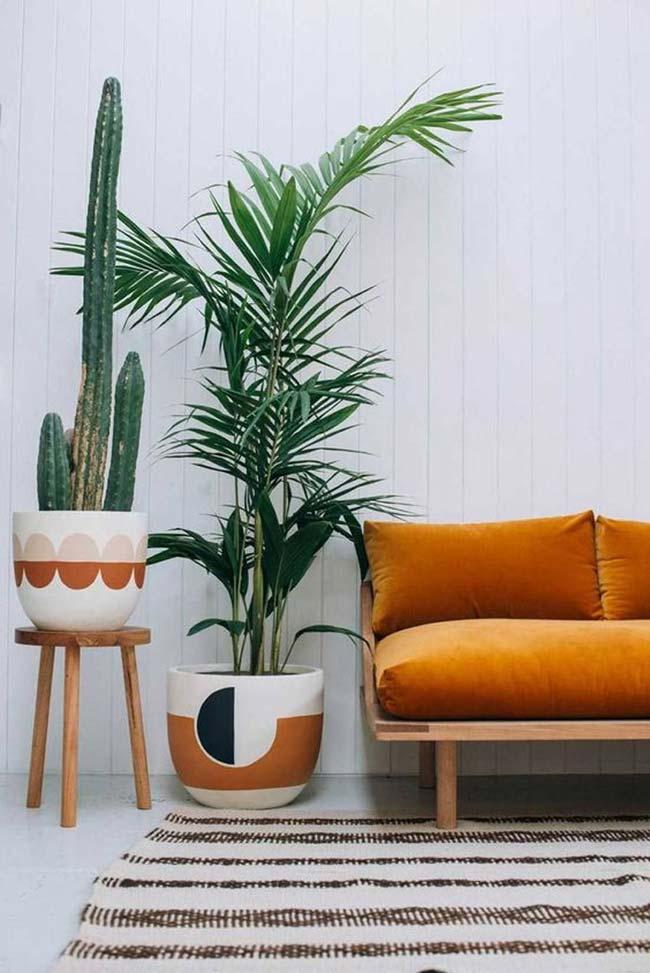 Sala moderna com vasos de planta decorados.