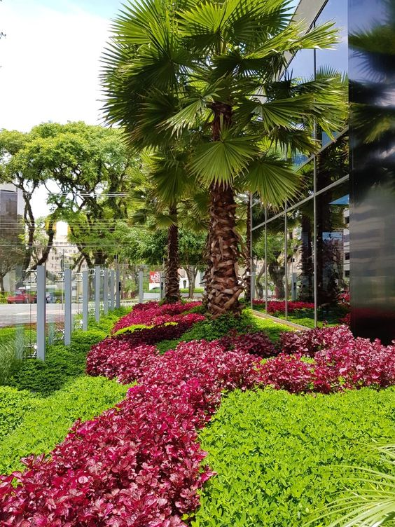 Jardim colorido na área externa do prédio.