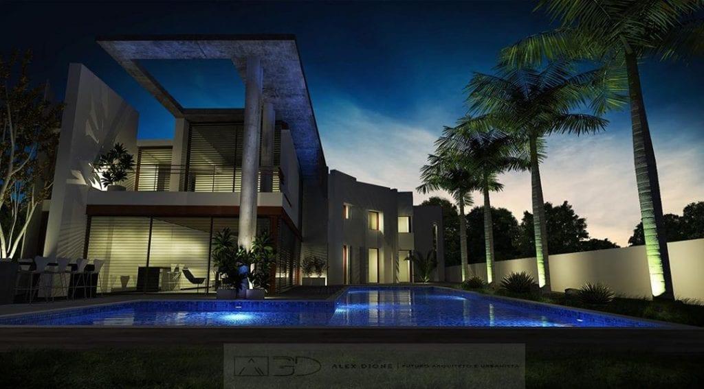 Palmeira imperial na área da piscina.
