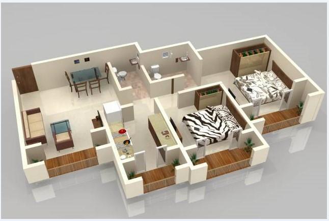 planta com varandas na cozinha e nos quartos