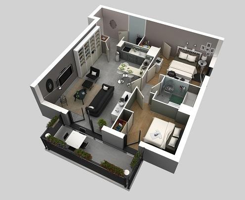casa com varanda e cozinha americana