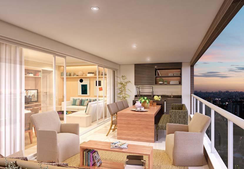 Varanda gourmet grande com sala de estar e mesa de jantar.