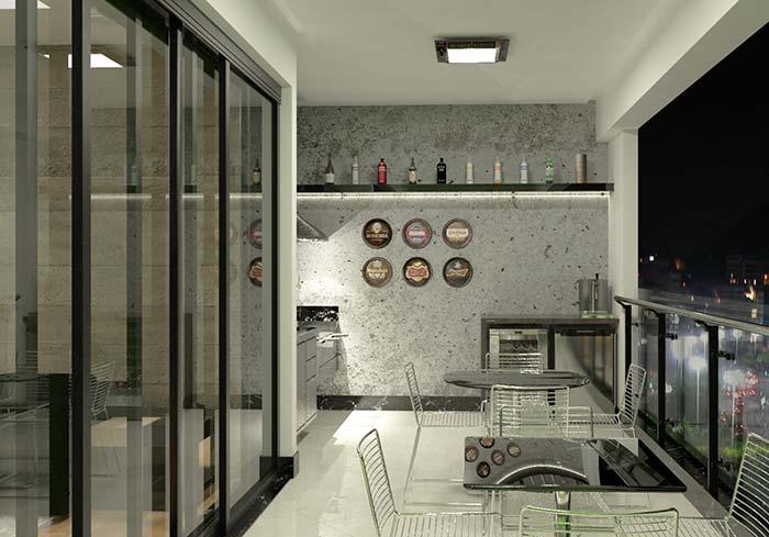 Varanda gourmet com decoração moderna e industrial.