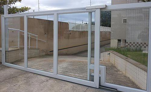 portão de vidro automático
