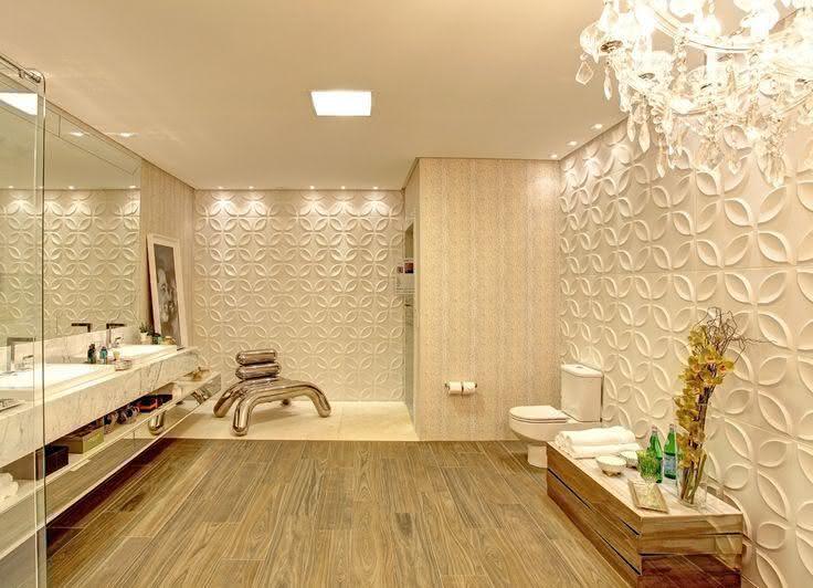 banheiro com painel de gesso 3D