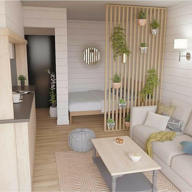Loft minimalista com divisória de ambiente de MDF.