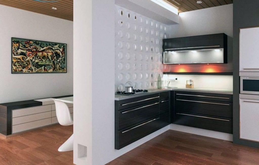 Cozinha em L com cobogó branco.