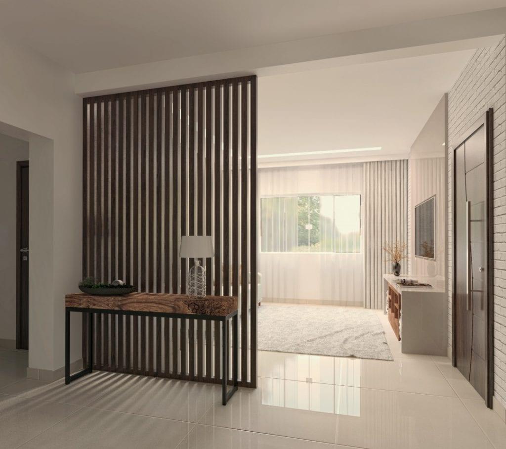 Sala pequena elegante com divisória de ambiente de madeira.