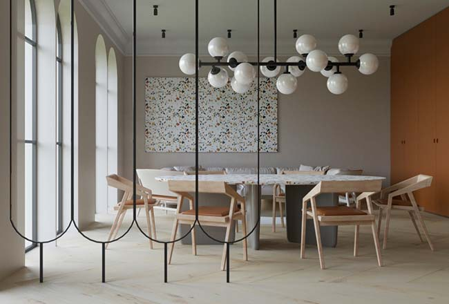 Sala moderna com divisória de ambiente de metal.