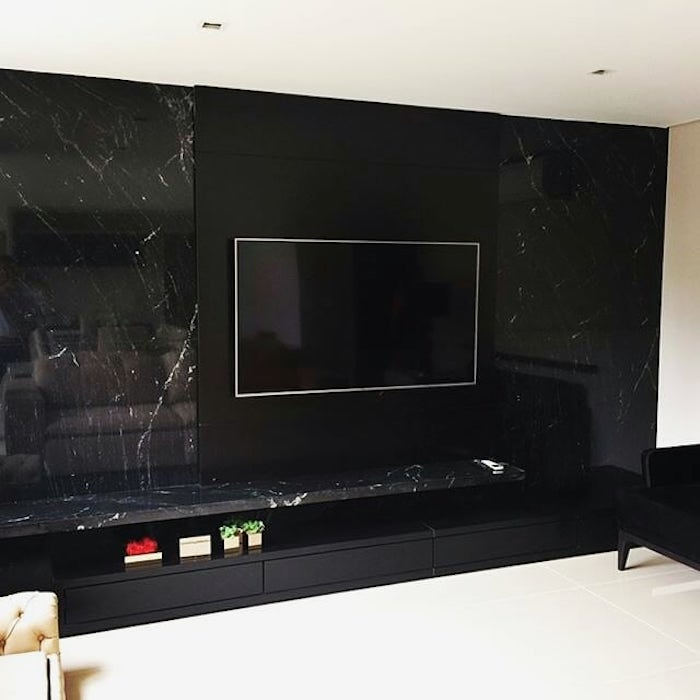 Painel de tv de granito preto via láctea.