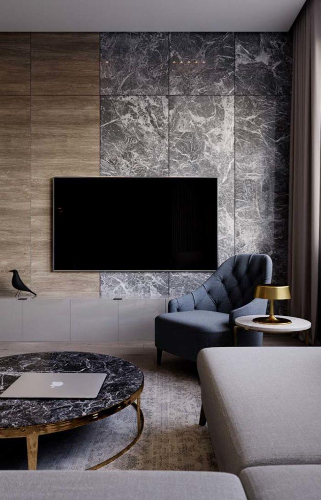 Sala de estar com mesa de centro de granito preto indiano.