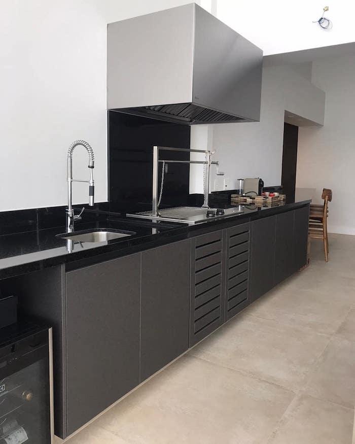 Área gourmet com armários cinzas e granito preto.