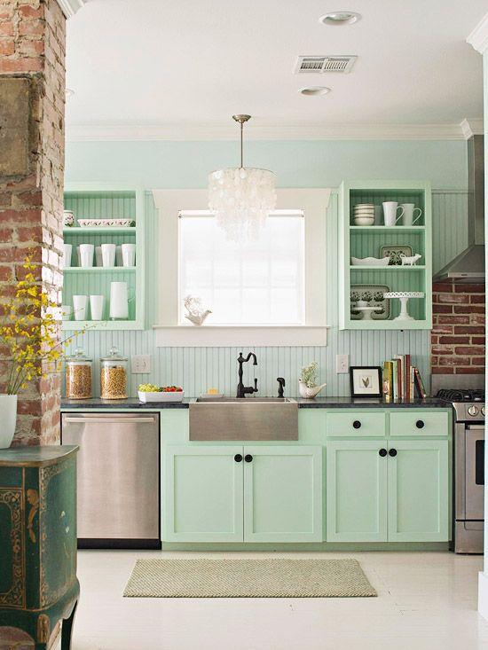 Cozinha moderna verde.