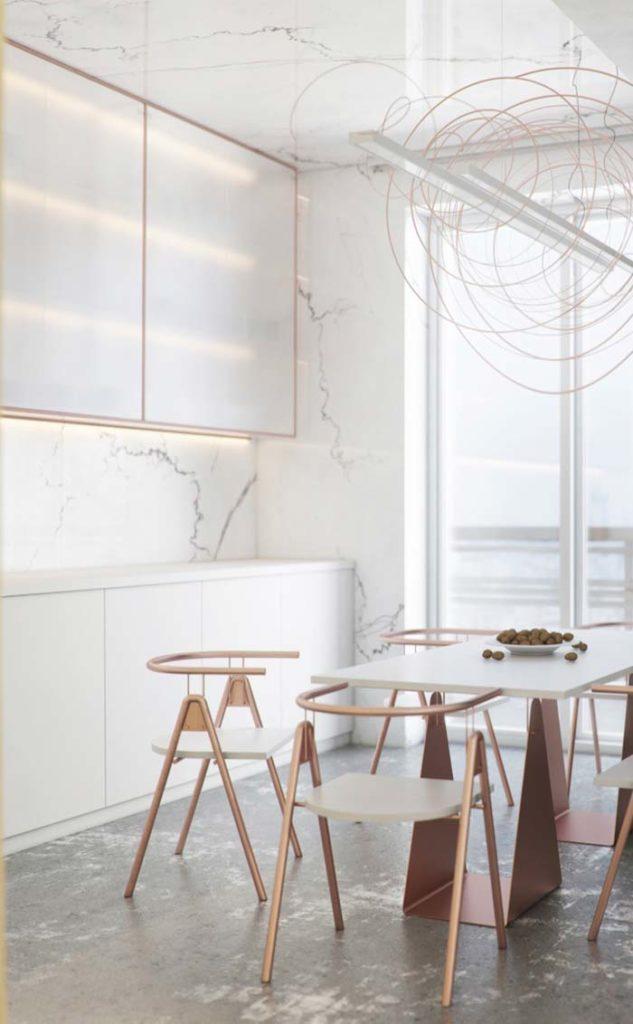 Cozinha aberta moderna com revestimento de mármore branco calacatta.
