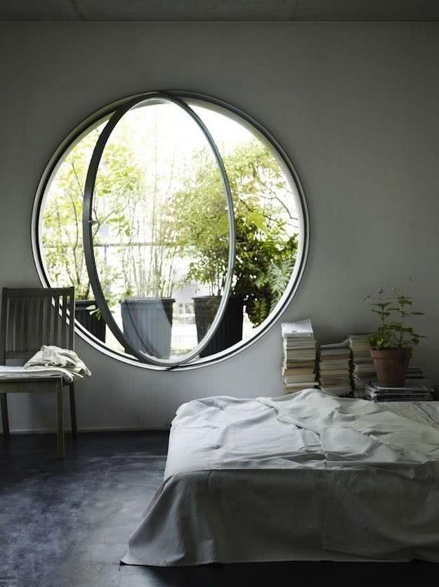 Modelos de janelas pivotante redonda.