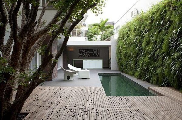 Área externa moderna com muro de plantas.