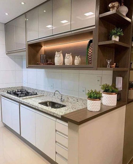 Balcão de cozinha com dois vasos de plantas para dentro de casa.