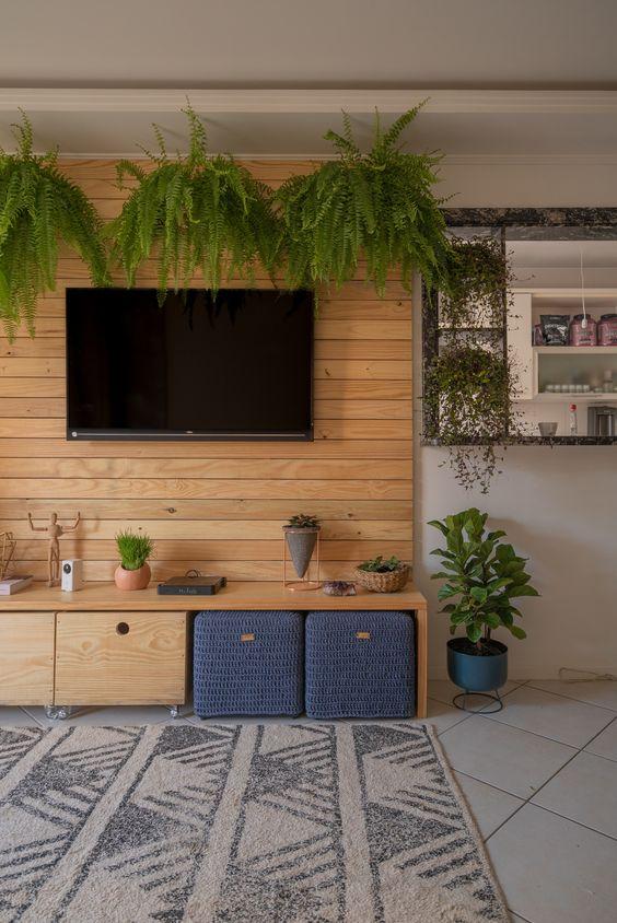 Sala de tv com plantas para dentro de casa.