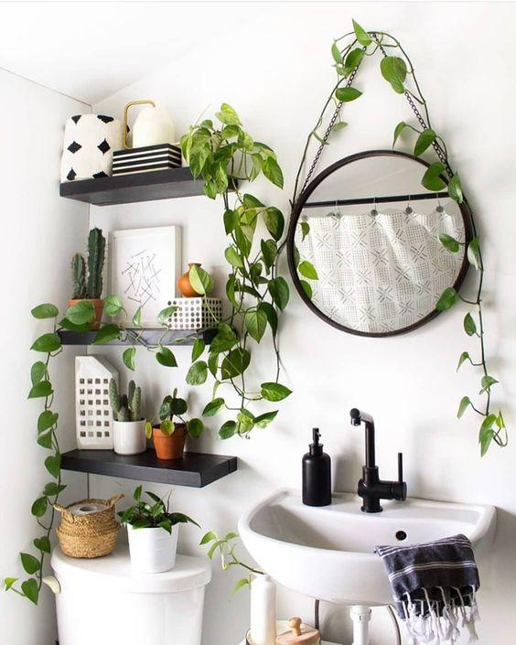 Banheiro preto e branco com plantas para dentro de casa.