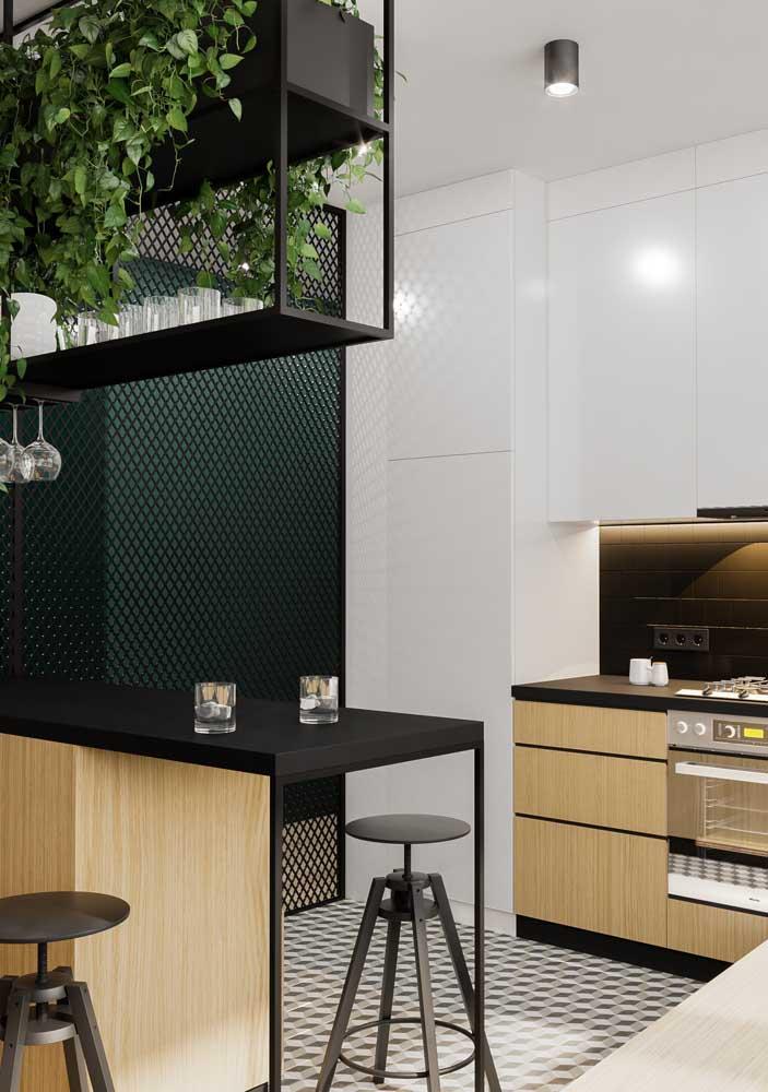Revestimentos para cozinha moderna com grade.