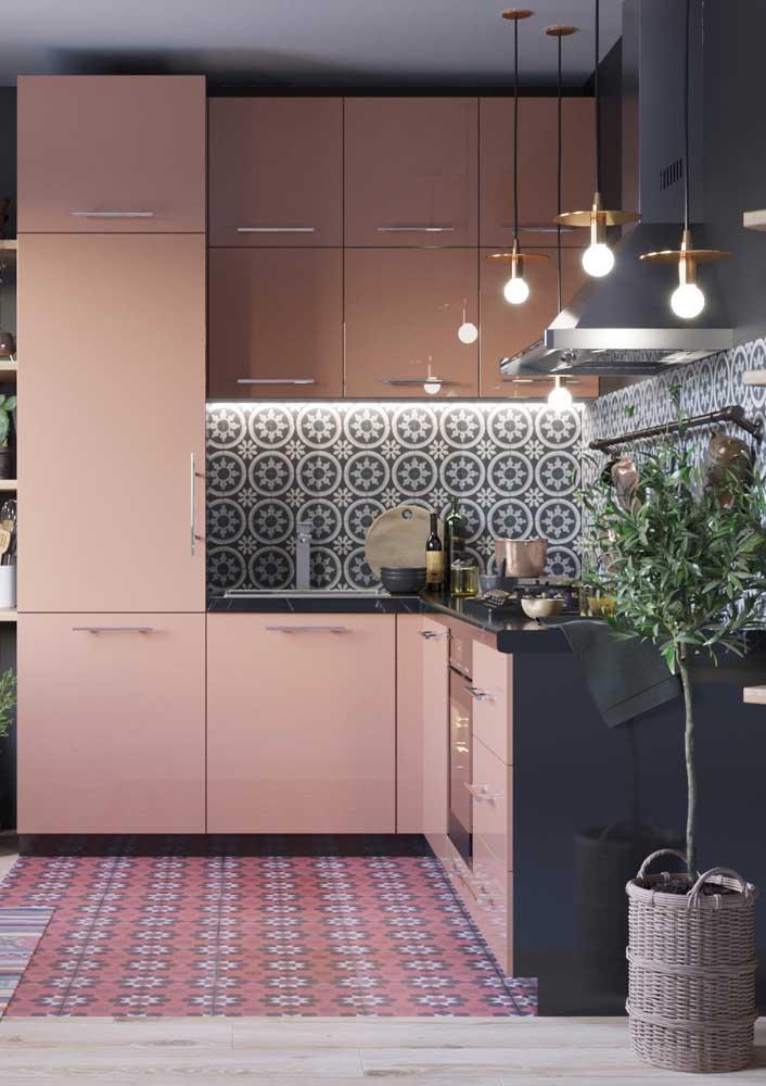 Revestimentos para cozinha rosa moderna.