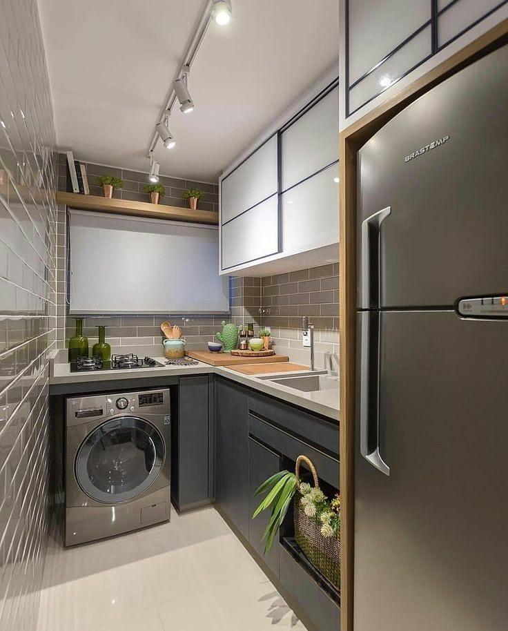 Revestimentos para cozinha pequena com área de serviço.