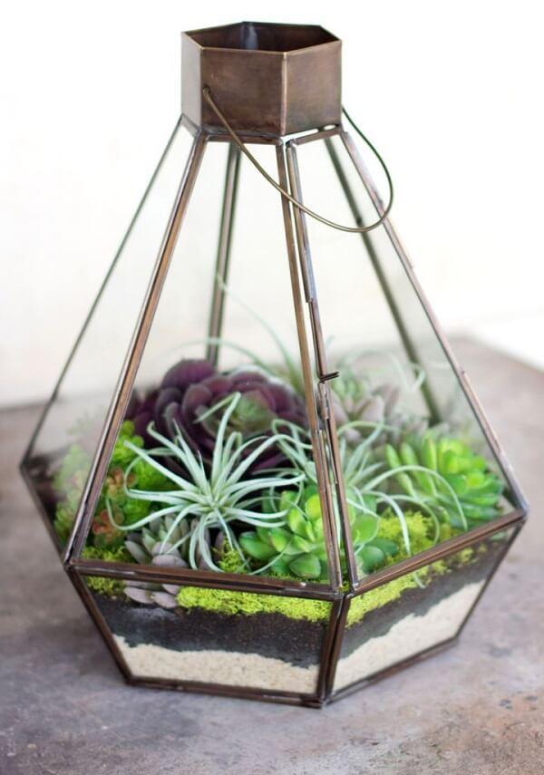 Jardim no vaso de vidro aberto.