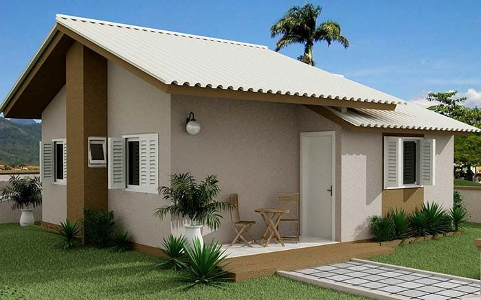 Tipos de telha: Casa simples com telhas de fibrocimento.