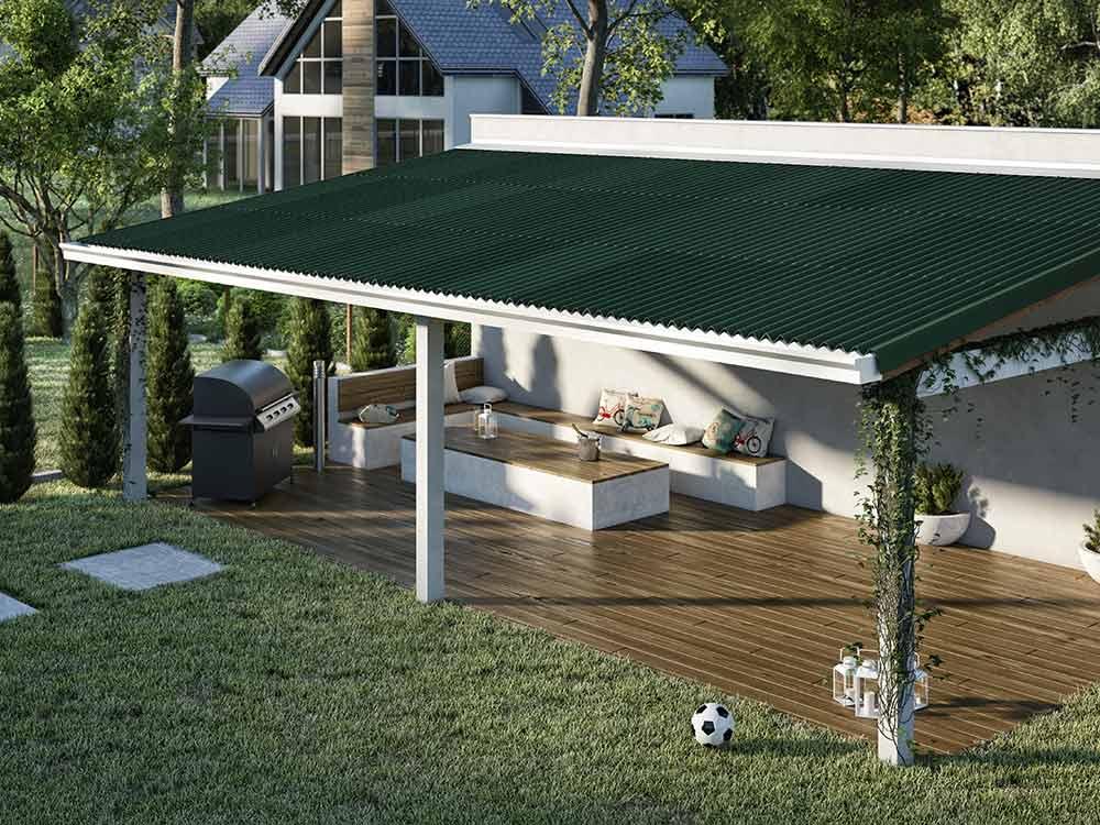 Tipos de telha: Área gourmet com telhas de fibra vegetal.