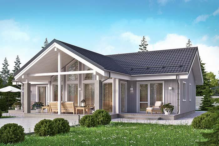 Tipos de telha: Casa de campo cinza com telhas esmaltadas.