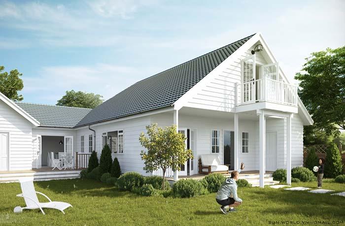 Tipos de telha: Casa branca aconchegante com telhado de concreto.
