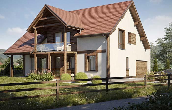 Casa de campo com telhado de PVC.