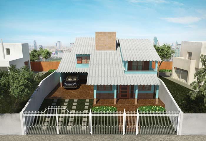 Casa simples com telhado de telhas de fibrocimento.