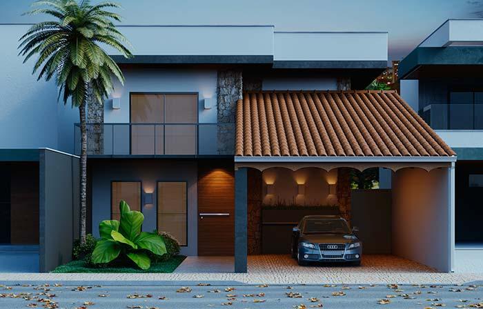 Casa moderna com telhado de telhas de cerêmica.