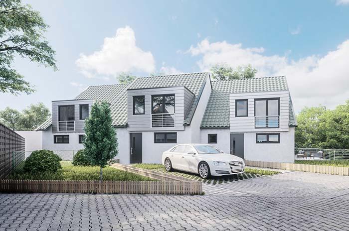 Casa luxuosa em tons claros com telhas de fibrocimento.