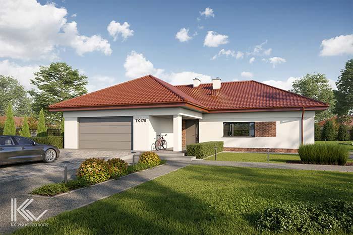 Casa grande térrea com telhado de PVC.