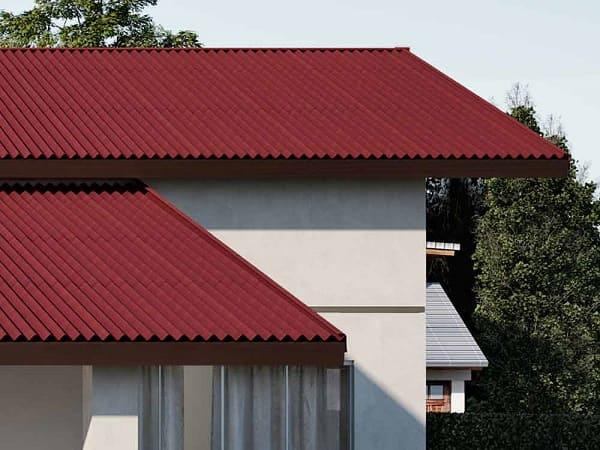 Casa com telhados de fibra vegetal.