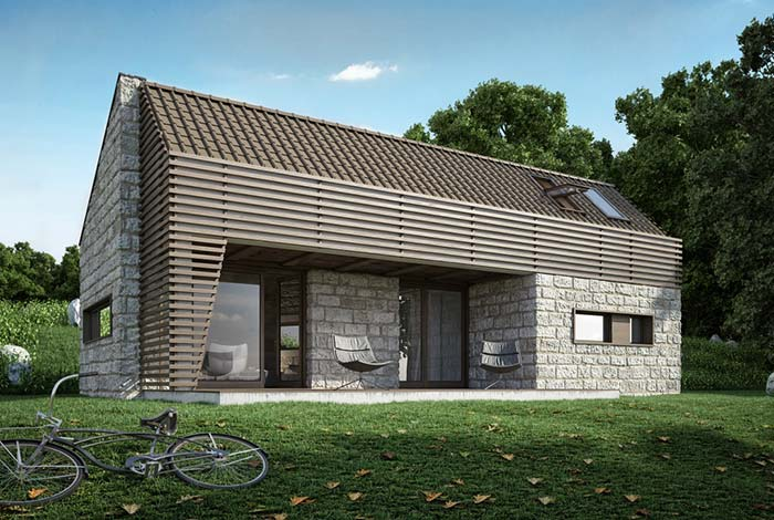 Casa de campo com parede de pedra e telhado de PVC.