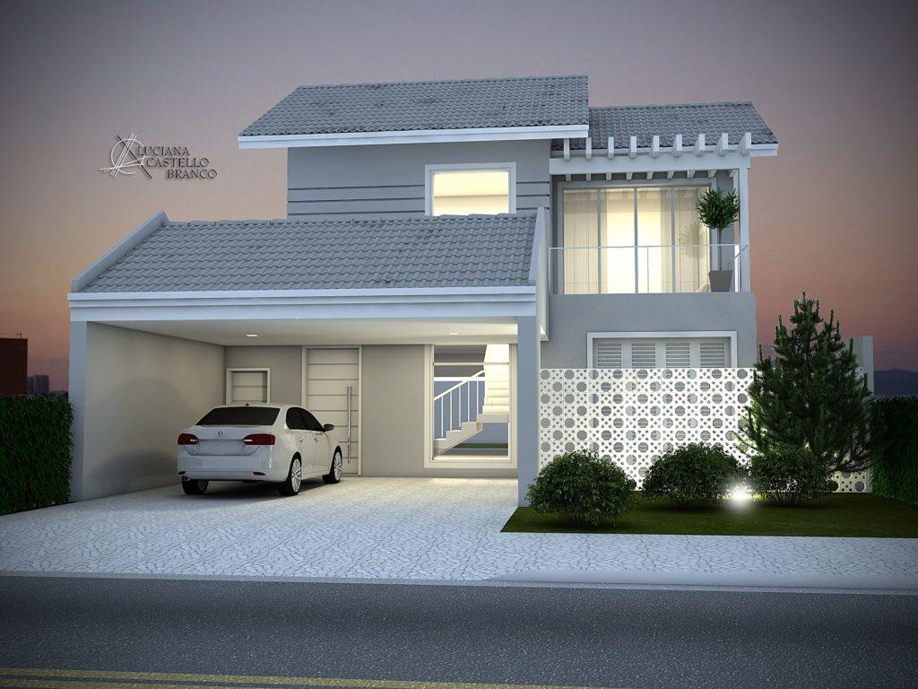Casa luxuosa de dois anadares com telhado de concreto.