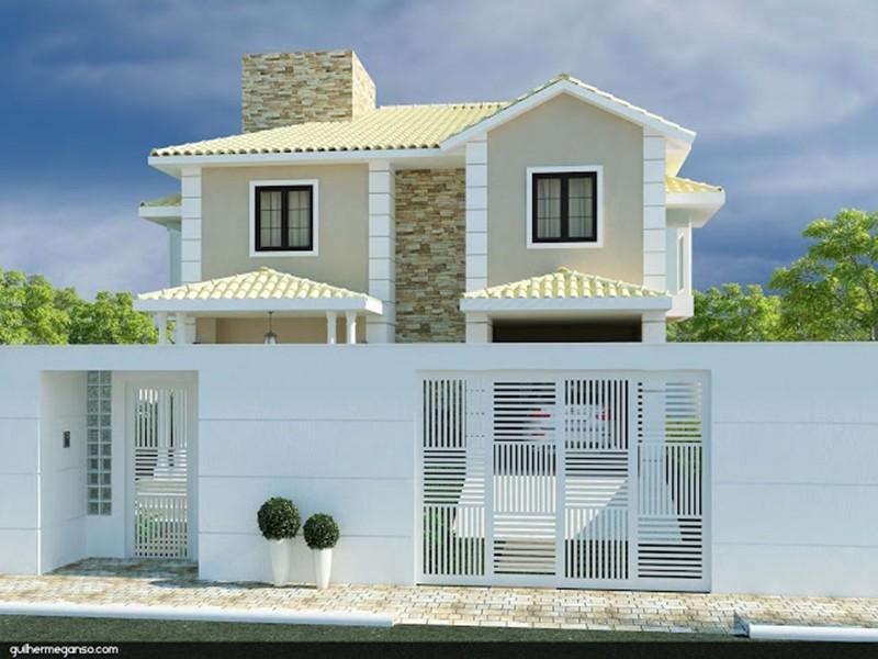 Casa moderna com telhado de cerâmica branco.