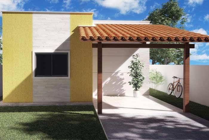 Cobertura para garagem com estrutura de madeira e cerâmica.
